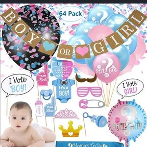 Gender Reveal Party Supplies 64 Pc Balloons & Prop